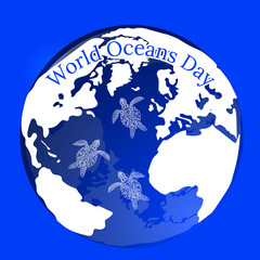 World Oceans Day. Planet Earth in the form of a water balloon in which water turtles swim