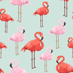 Seamless pattern with red and pink flamingos