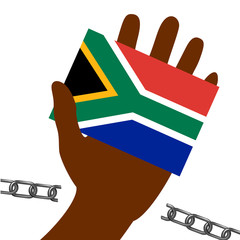 Nelson Mandela International Day. 18 July. Flag in hand of the Republic of South Africa. Broken chain