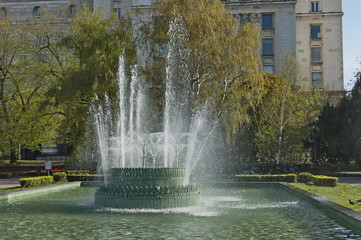 Beauty landscape of many fountain  with different programme at the center of  Sofia city, Bulgaria, Europe