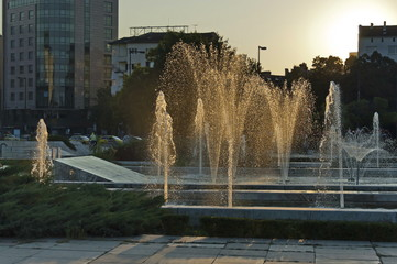 Beauty landscape of many fountain  at sunset with different programme in the center of  Sofia city, Bulgaria, Europe