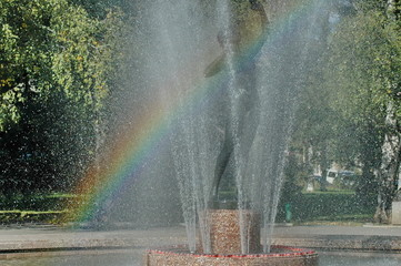 View of many fountain with different programme and rainbow  in the public Zaimov or Oborishte park  of  Sofia city, Bulgaria, Europe