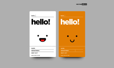 Smiling Emoji Hello ID Tag Card with Name Department Details Illustration for Meetings and Seminars