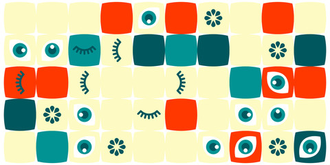 Colored abstract geometric flat pattern background. Geometric vector eyes with  eyelash