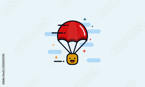 Parachute with Happy Smiling Emoji Happiness Delivery