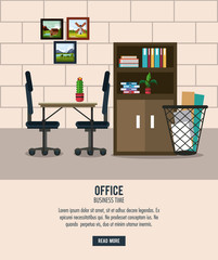 Office workplace interior cartoons vector illustration graphic design