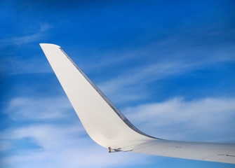 Photo beautiful white fragment of the aircraft