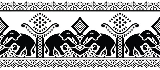 Seamless traditional indian black and white elephant border