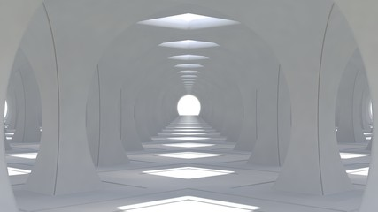 A huge 3d white hall with columns of rhombic shape going into the distance. 3d renderng.