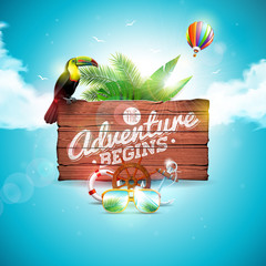 The Adventure begins typographic illustration with toucan bird on vintage wood background. Tropical plants, flower, air balloon, sunglasses and sunshade with blue cloudy sky. Design template for