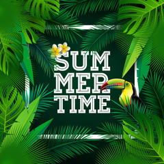 Vector Summer Time Holiday typographic illustration with toucan bird and flower on tropical plants background. Design template with green palm leaf for banner, flyer, invitation, brochure, poster or