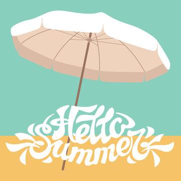 beach sun umbrella inscription  hello summer vector