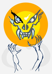 evil grab skull and big eyes with yellow moon background