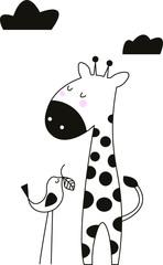giraffe and bird in vector
