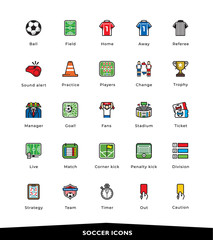 Soccer, Football, Colorful, Icons ,Vector, Illustration