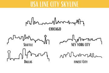 Unites States America City Skyline Vector Set