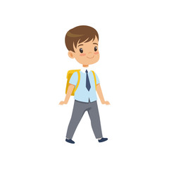 Cute boy walkling with backpack, pupil in school uniform studying at school vector Illustration on a white background