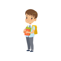 Cute boy with backpack holding books, pupil in school uniform studying at school vector Illustration on a white background
