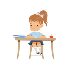 Cute girl sitting at the desk and writing, elementary school student in uniform vector Illustration on a white background