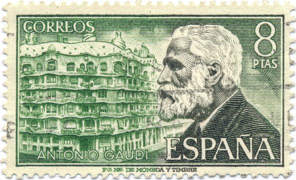 Antoni Gaudi. Spanish postage stamp from 1960