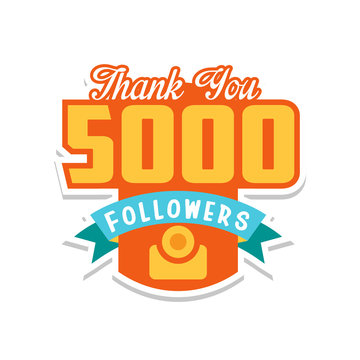 Thank you 5000 followers numbers, template for social networks, user celebrating large number of friends and subscribers vector Illustration on a white background