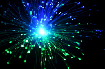 bunch of optical fibres dinamic flying