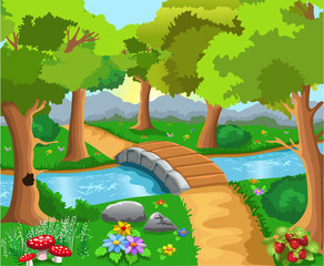 cartoon forest with a river and a bridge in the middle