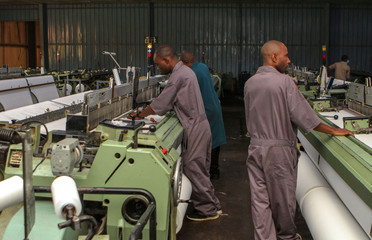 Workers are seen at the the Utexrwa garment factory in Kigali