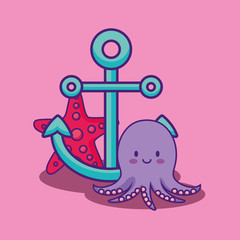cute octopus with anchor and sea star over pink background, colorful design. vector illustration