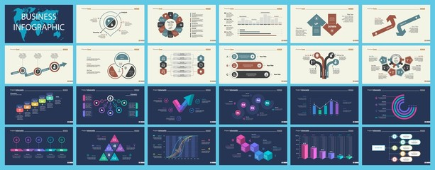 Set of analysis or management concept infographic charts
