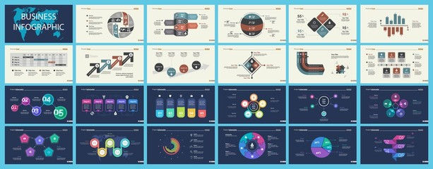 Set of marketing or economics concept infographic charts