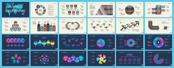 Set of marketing or production concept infographic charts