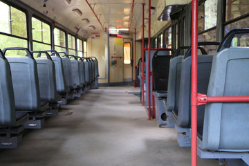 Image of an interior of a city tram.