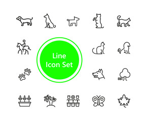 Set of Animals and Plants Line Icons
