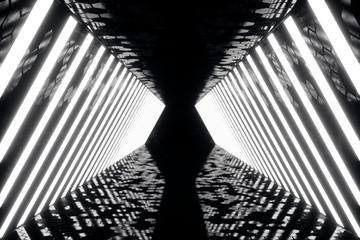 3D rendering abstrac futuristic dark corridor with neon lights. Glowing light. Futuristic architecture background