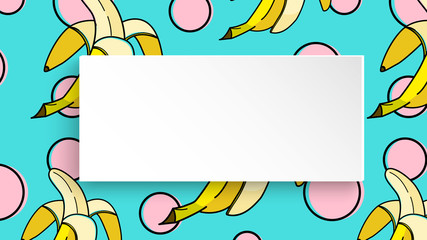 Banana background with pop art dots in 80s, 90s style. Summer tropical banner with 3d paper plate. Fruit label with banana background for season sale, special offer, flyer and ad. Vibrant template.