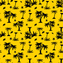Seamless pattern, black silhouette, palm tree and seashells on yellow background,