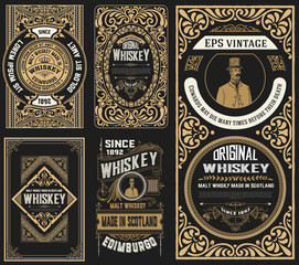 Set of 5 old labels. Western style