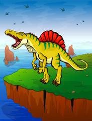 Spinosauruson the background of the sea. Vector illustration.