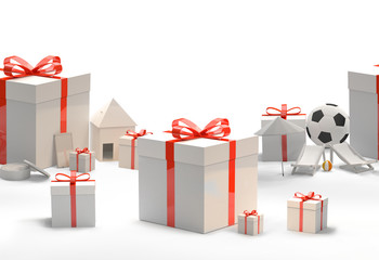 gift boxes with bow with a soccer ball a phone a house and sun deck chairs 3d rendering