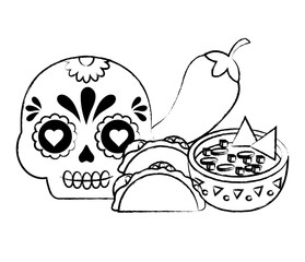 sugar skull with mexican food related icons over white background, vector illustration
