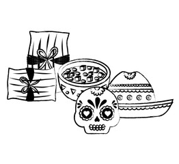 mexican hat and traditional food related icons over white background, vector illustration