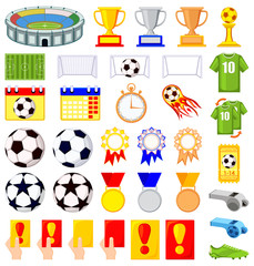 35 soccer elements colorful cartoon set