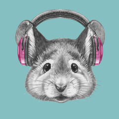 Portrait of Mouse with headphones, hand-drawn illustration
