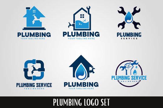 Plumbing Service Logo Designs Set