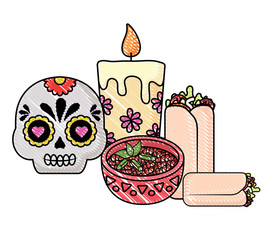 sugar skull and candle with mexican food over white background, vector illustration