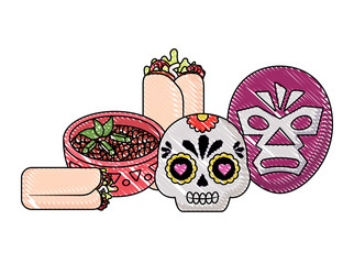 wrestler mask and sugar skull with mexican food over white background, vector illustration