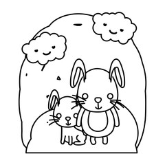 line rabbit father with his cute child in the landscape
