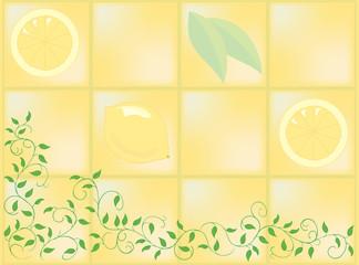 南欧風・レモン柄タイルとツタ