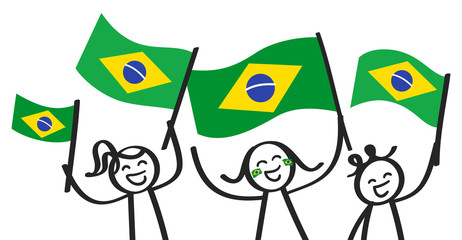 Cheering group of three happy stick figures with Brazilian national flags, smiling Brazil supporters, sports fans isolated on white background